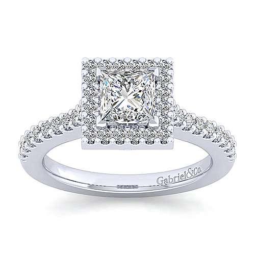 Kelsey Platinum Princess Cut Halo Engagement Ring angle 5