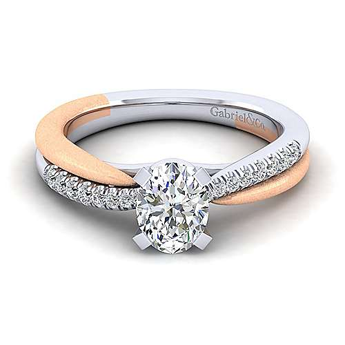 Gabriel - Kendall 14k White And Rose Gold Oval Twisted Engagement Ring