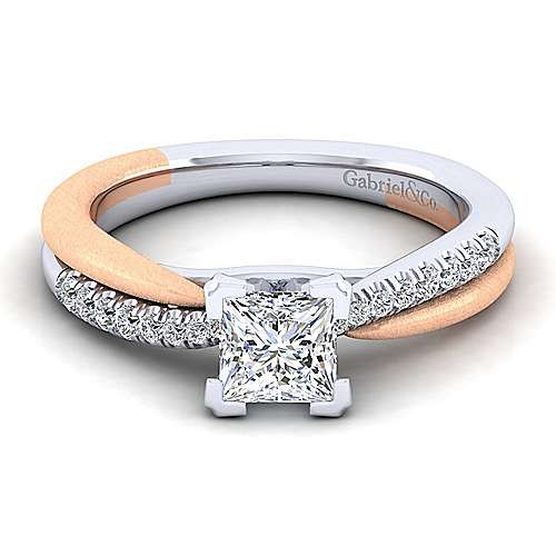 Gabriel - Kendall 14k White And Rose Gold Princess Cut Twisted Engagement Ring