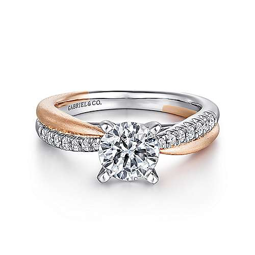 Gabriel - Kendall 14k White And Rose Gold Round Twisted Engagement Ring