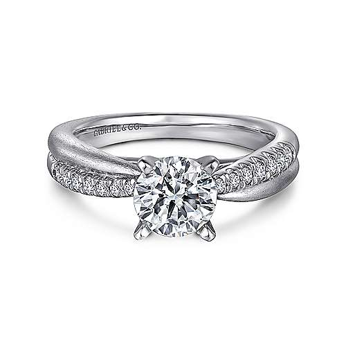 Gabriel - Kendall 14k White Gold Round Twisted Engagement Ring