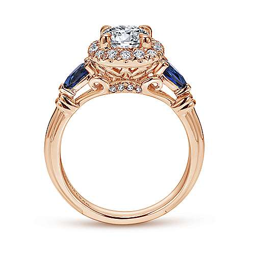 Kenmare 18k Rose Gold Round Halo Engagement Ring angle 2