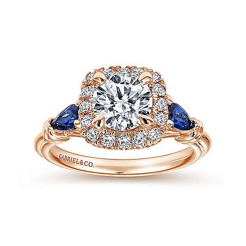 Kenmare 18k Rose Gold Round Halo Engagement Ring angle 5