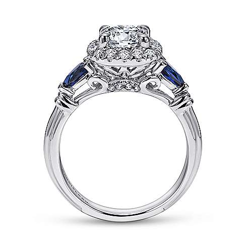 Kenmare 18k White Gold Round Halo Engagement Ring angle 2