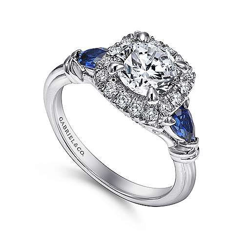 Kenmare 18k White Gold Round Halo Engagement Ring angle 3