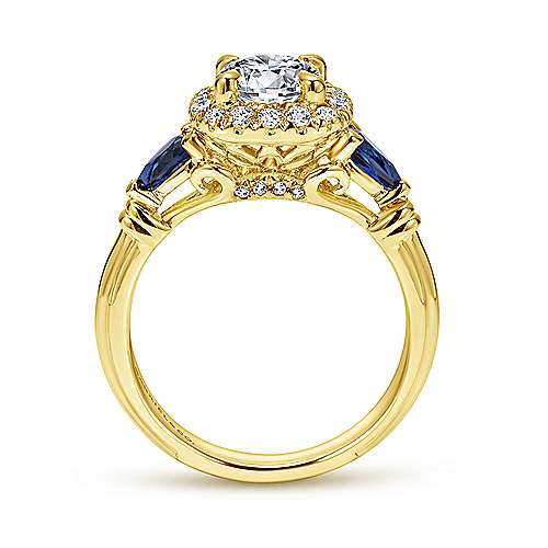 Kenmare 18k Yellow Gold Round Halo Engagement Ring angle 2