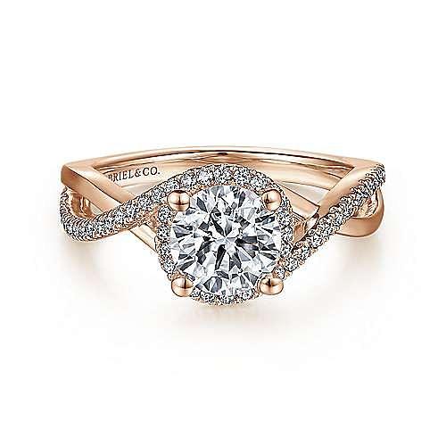 Gabriel - Kennedy 14k Rose Gold Round Criss Cross Engagement Ring