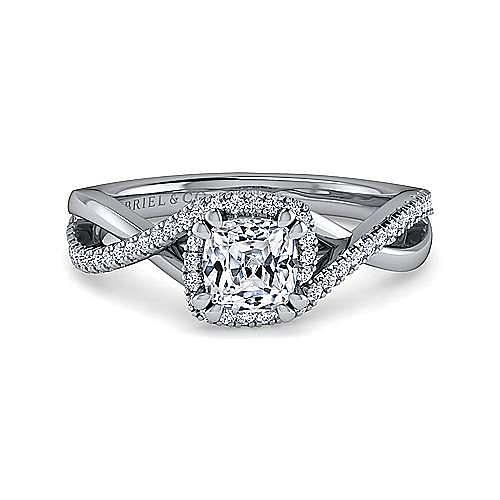 Gabriel - Kennedy 14k White Gold Cushion Cut Twisted Engagement Ring