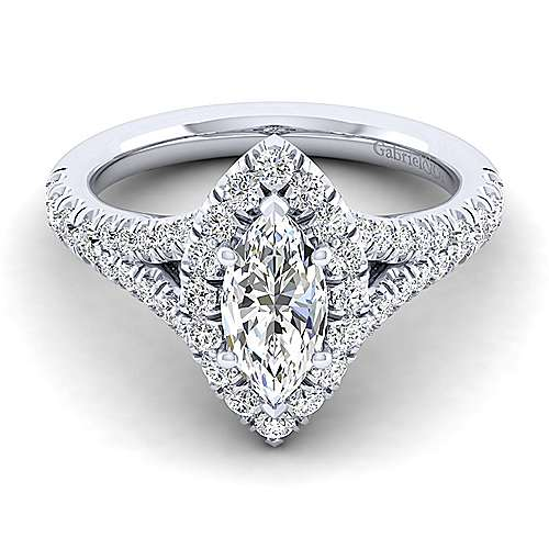 Gabriel - Kennedy 14k White Gold Marquise  Halo Engagement Ring