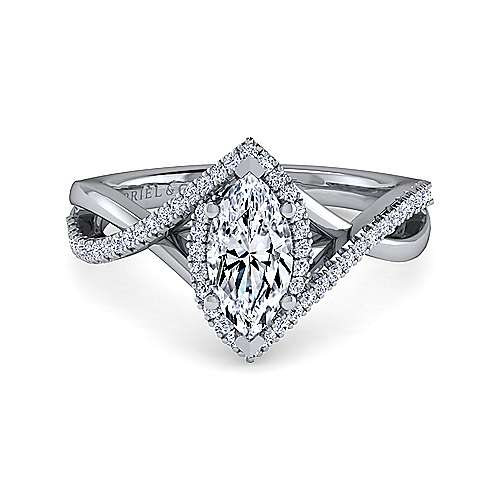 Gabriel - Kennedy 14k White Gold Marquise  Twisted Engagement Ring