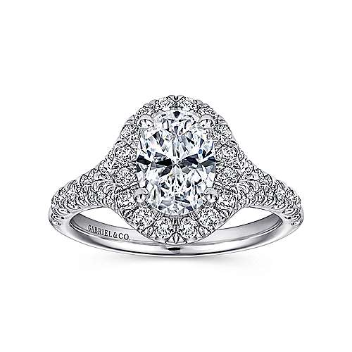 Kennedy 14k White Gold Oval Halo Engagement Ring angle 5