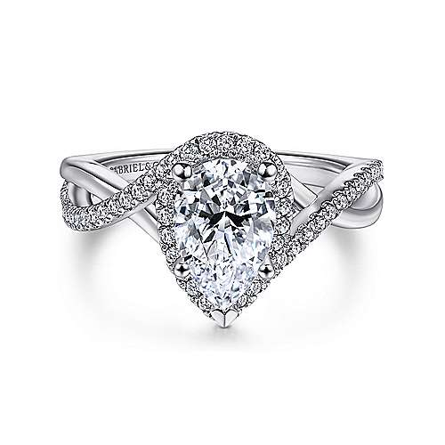 Gabriel - Kennedy 14k White Gold Pear Shape Twisted Engagement Ring