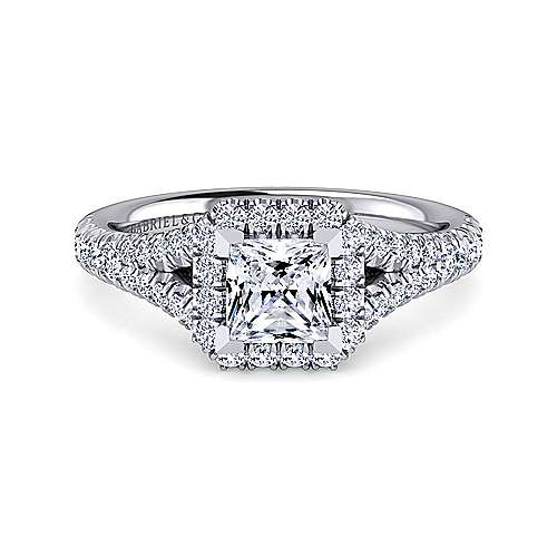 Gabriel - Kennedy 14k White Gold Princess Cut Halo Engagement Ring