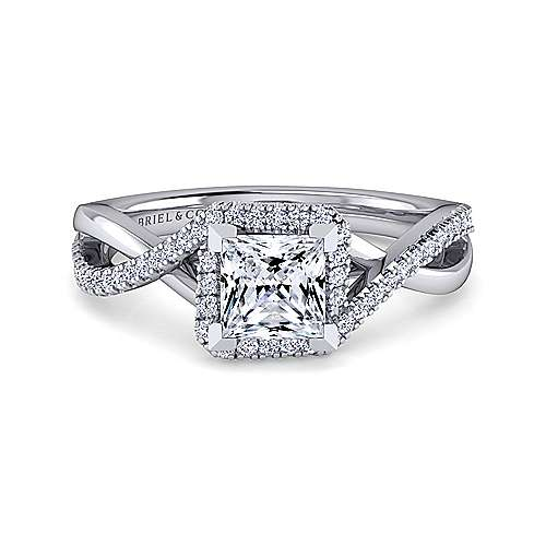Gabriel - Kennedy 14k White Gold Princess Cut Twisted Engagement Ring
