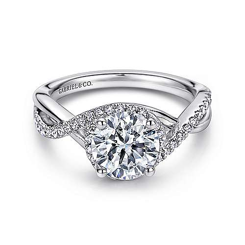Gabriel - Kennedy 14k White Gold Round Criss Cross Engagement Ring