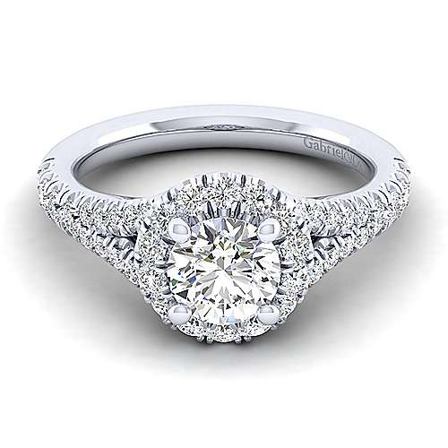Gabriel - Kennedy 14k White Gold Round Halo Engagement Ring