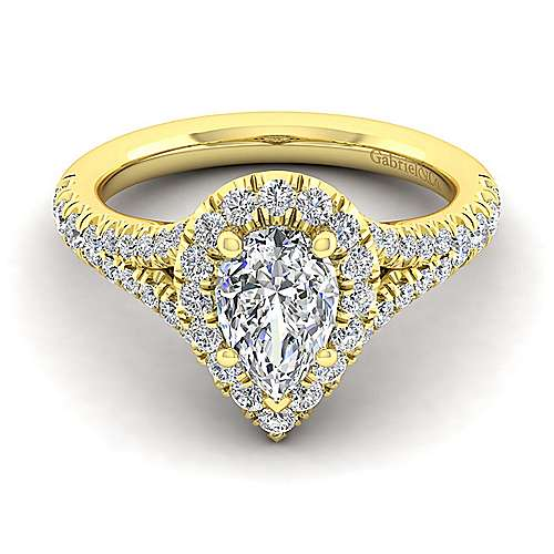 Kennedy 14k Yellow Gold Pear Shape Halo Engagement Ring angle 1