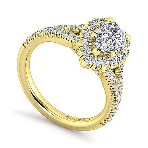 Kennedy 14k Yellow Gold Pear Shape Halo Engagement Ring angle 3