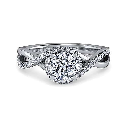 Gabriel - Kennedy 18k White Gold Round Twisted Engagement Ring