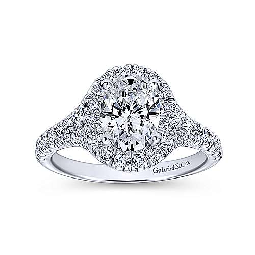 Kennedy Platinum Oval Halo Engagement Ring angle 5