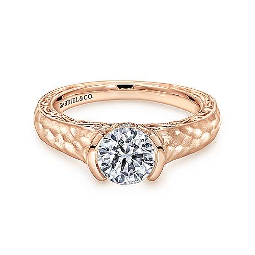 Gabriel - Kiera 14k Rose Gold Round Solitaire Engagement Ring