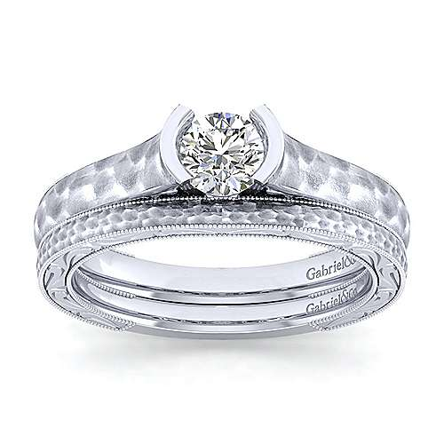 Kiera 14k White Gold Round Solitaire Engagement Ring angle 4
