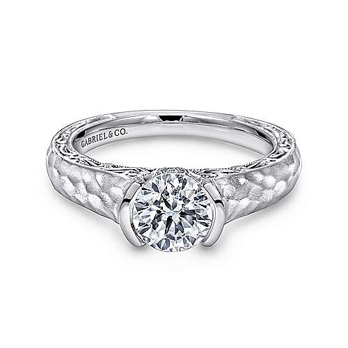 Kiera 14k White Gold Round Solitaire Engagement Ring angle 1