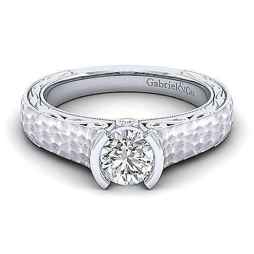 Gabriel - Kiera 14k White Gold Round Straight Engagement Ring