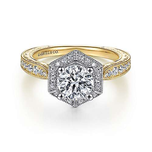Gabriel - Kingston 14k Yellow And White Gold Round Halo Engagement Ring