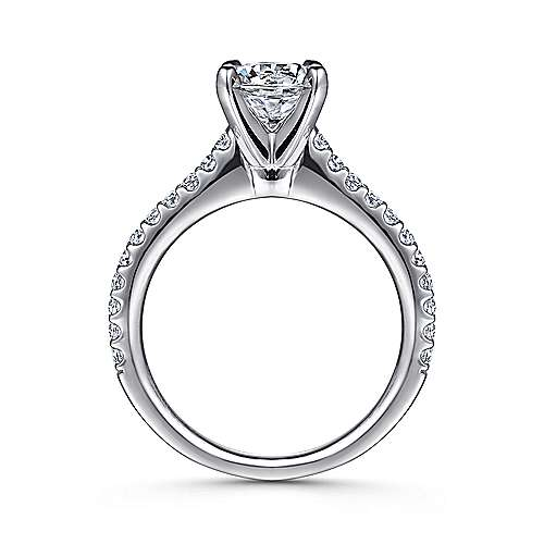 Kinley 14k White Gold Round Straight Engagement Ring angle 2