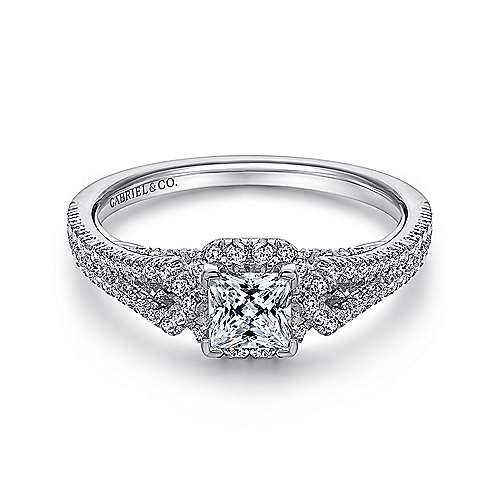 Gabriel - Kios 14k White Gold Princess Cut Halo Engagement Ring