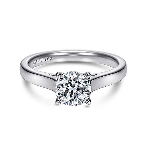 Kipling 14k White Gold Round Solitaire Engagement Ring angle 1