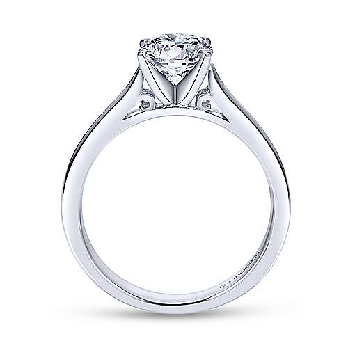 Kipling 14k White Gold Round Solitaire Engagement Ring angle 2