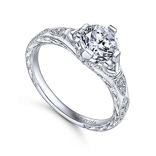 Kirie Platinum Round Straight Engagement Ring