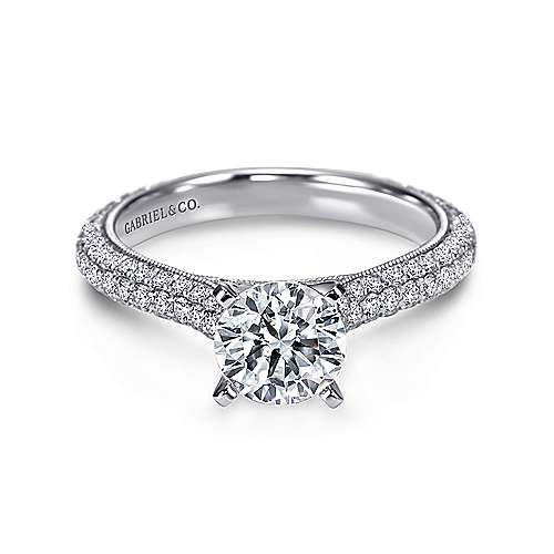 Gabriel - Kirsten 14k White Gold Round Straight Engagement Ring