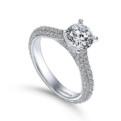 Kirsten 14k White Gold Round Straight Engagement Ring angle 3