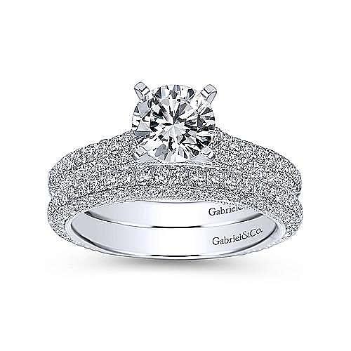 Kirsten 14k White Gold Round Straight Engagement Ring angle 4