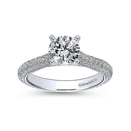 Kirsten 14k White Gold Round Straight Engagement Ring angle 5
