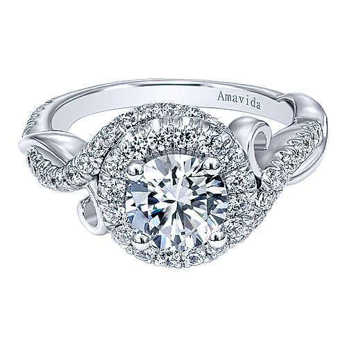 Kiss 18k White Gold Round Halo Engagement Ring angle 1