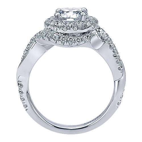 Kiss 18k White Gold Round Halo Engagement Ring angle 2