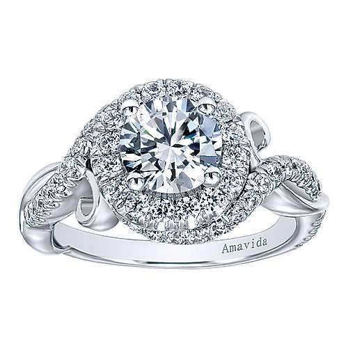 Kiss 18k White Gold Round Halo Engagement Ring angle 5
