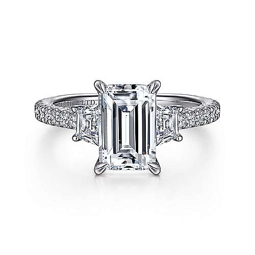 Gabriel - Knight 18k White Gold Emerald Cut 3 Stones Engagement Ring