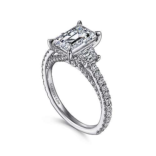 Knight 18k White Gold Emerald Cut 3 Stones Engagement Ring