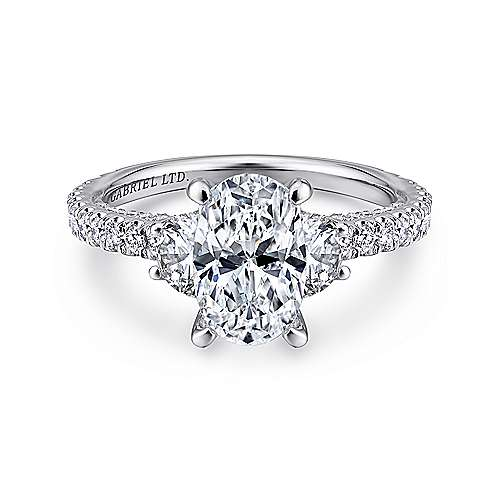 Gabriel - Knight 18k White Gold Oval 3 Stones Engagement Ring