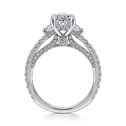 Knight 18k White Gold Oval 3 Stones Engagement Ring angle 2