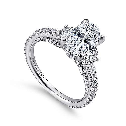 Knight 18k White Gold Oval 3 Stones Engagement Ring angle 3