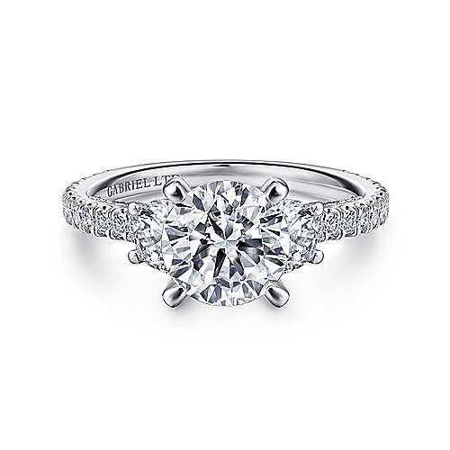 Gabriel - Knight 18k White Gold Round 3 Stones Engagement Ring