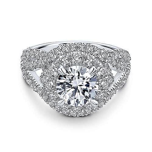 Krishna 18k White Gold Round Halo Engagement Ring angle 1