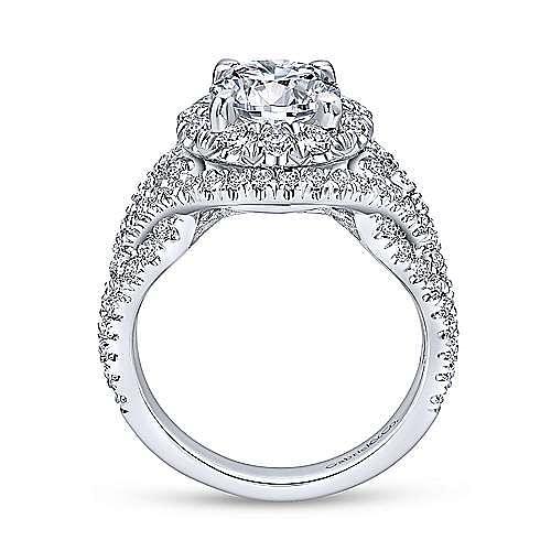 Krishna 18k White Gold Round Halo Engagement Ring angle 2