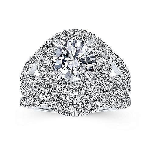 Krishna 18k White Gold Round Halo Engagement Ring angle 4